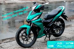 Dán đổi màu xe máy nhôm xước xanh đen